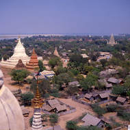 View over the ancient walled city of Bagan with the Ayeyarwaddy (Irrawaddy) river in the background.