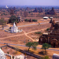 View over the ancient walled city of Bagan.