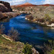 The Bighorn River winds its way around the hot springs
