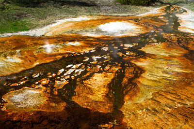 Thumbnail image ofMineral and algal staining on the flow from hot...
