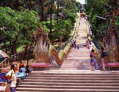Thumbnail image of Naga stairway of 309 steps to the hill top temple.