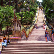Naga stairway of 309 steps to the hill top temple.