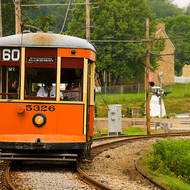 Is the motorman sleeping on the job, Pennsylvania Trolley museum?