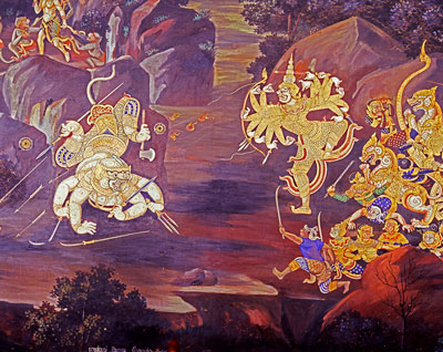 Thumbnail image of Painted frescoes depicting the Ramayana story...