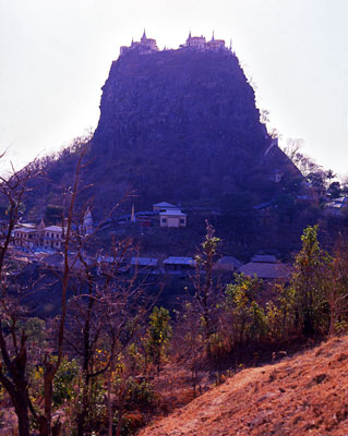 Thumbnail image of Mount Popa silhouetted against the darkening sky.