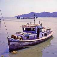 Boat on the Ayeyarwaddy (Irrawaddy) river.