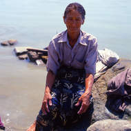 Washer woman on the Ayeyarwaddy (Irrawaddy) river.