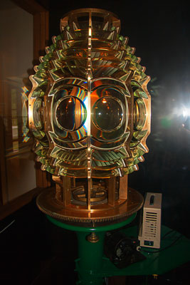 Thumbnail image ofFresnel lens in the Old Mackinac Point lighthouse.