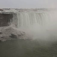 Very grey, very cold Horseshoe falls.