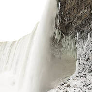 Ice stalactites under Horseshoe falls in mid-winter.