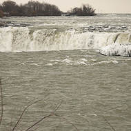 Life on the edge, Horseshoe falls in mid-winter.