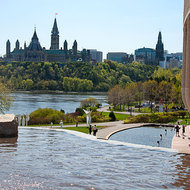 Parliament Hill, Ottawa, across the Ottawa River from the Canadian Museum of Civilization.