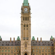 The Centre Block of Parliament Hill and the Peace Tower.