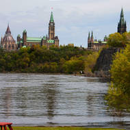 Parliament Hill from Victoria Island in the Ottawa River.