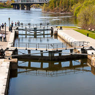 The first of the Ottawa locks on the Rideau Canal with the Ottawa River and Alexandra Bridge.