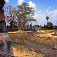 Central grounds and pool of and old temple complex.