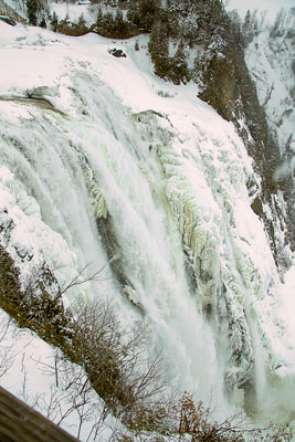 Thumbnail image ofAlmost completely frozen Montmorency Falls.