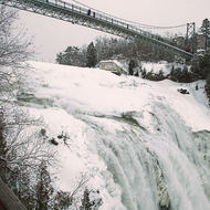 Almost completely frozen Montmorency Falls.