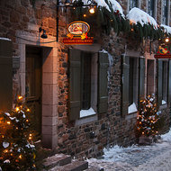 Cobbled street and old shops in Quebec City.