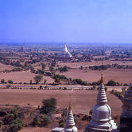 Stupas and pagodas dot the dusty plains of Bagan.