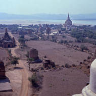 The Ayeyarwady (Irrawaddy) River idles past ancient Bagan.