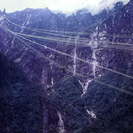Arial tramway bringing ore from the Freeport mine at around 14,000 feet above sea level.