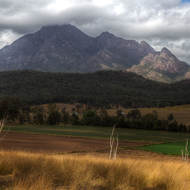 Storm clouds cover the peak of Mt Barney.
