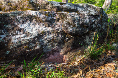 Thumbnail image ofWeathered granites exposed by the Logan River.