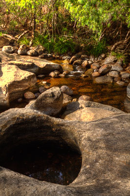 Thumbnail image ofWell-worn rocks form the bed of the Logan River.
