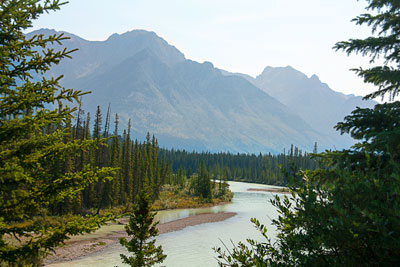 Thumbnail image ofThe Bow River winds its way from Lake Louise near...