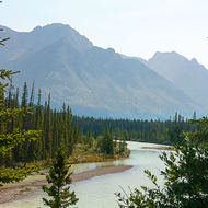 The Bow River winds its way from Lake Louise near Banff.