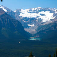 Lake Louise nestling in the Canadian Rockies.