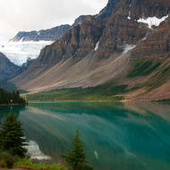 Bow Lake and the Crowfoot glacier.