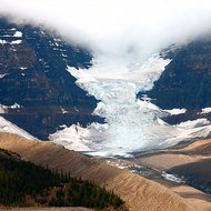 Athabasca Glacier from the Icefields Parkway.