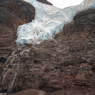 Remains of the ice hanging up there on the west facing side of the Columbia Icefield.