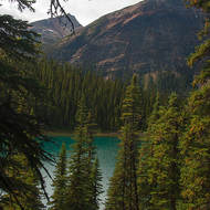 Secluded lake along the Icefields Parkway.