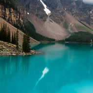 Reflection of the last snow in Moraine Lake.