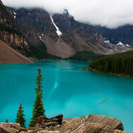 Low clouds over Moraine Lake.