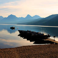 Early morning tranquillity over Lake McDonald at Apgar Visitor Center.