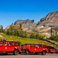 Red shuttle buses lined up at Logan Pass.