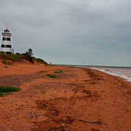 Windy with grey skies at West Point Lighthouse.
