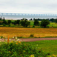 View over the Confederation Bridge, the entryway to Prince Edward Island.