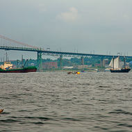 Angus L MacDonald bridge over Halifax harbor.