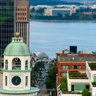 The Halifax Town Clock and Halifax harbor.