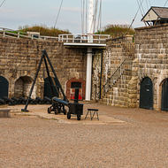 Inside the ramparts at the Halifax Citadel, is that a mobile pizza oven?
