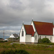 Red roofed church at Peggy s Cove.