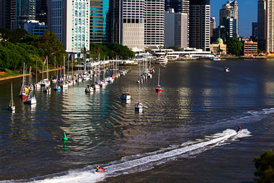 Thumbnail image of Jet skiers on the Brisbane River.