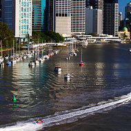 Jet skiers on the Brisbane River.