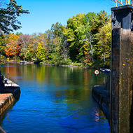 Gates of Lock 42 opening on the Trent-Severn Waterway.