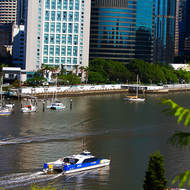 City Cat and City Hopper commuter transport on the Brisbane River, backdrop downtown Brisbane.